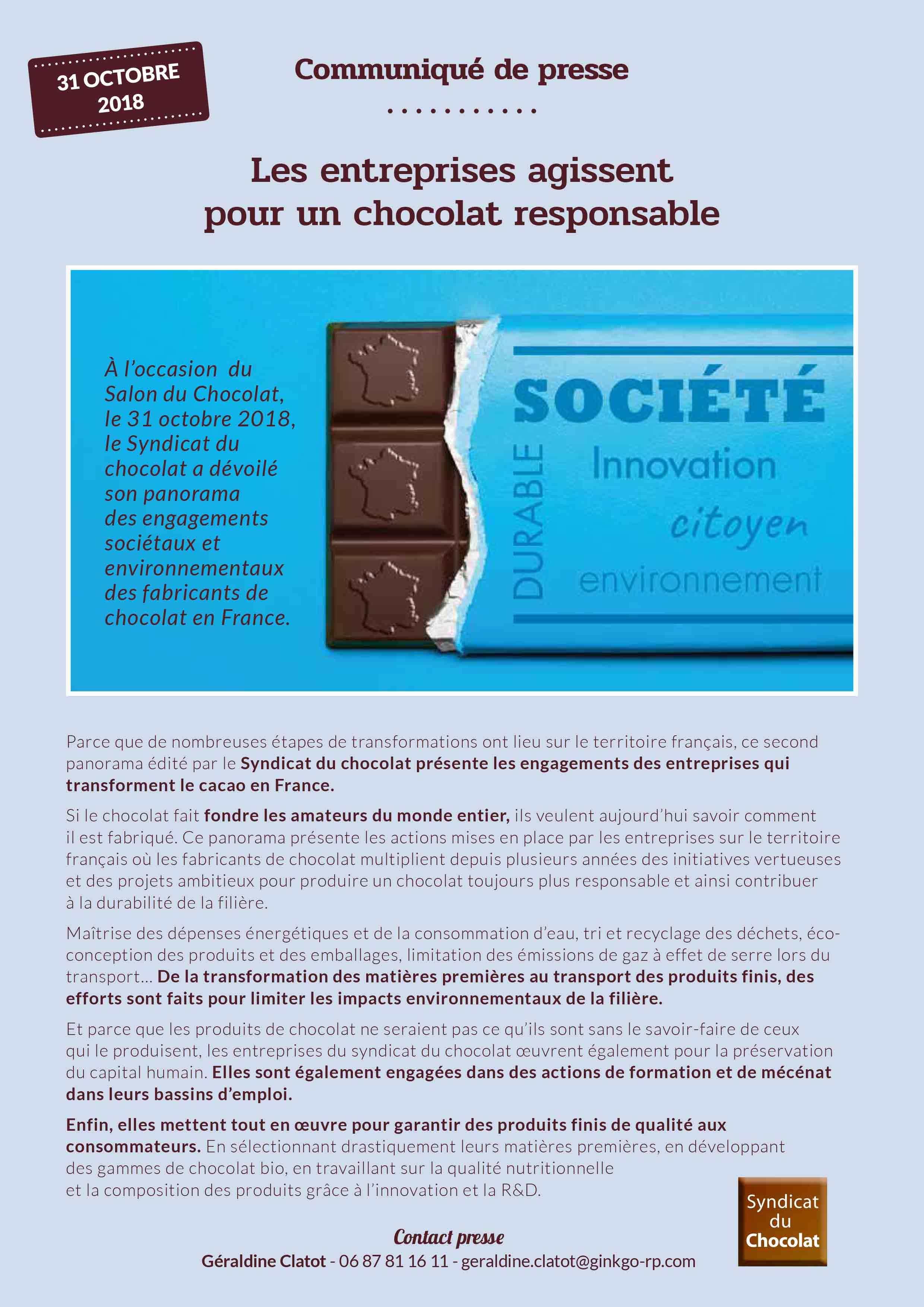 les entreprises agissent pour chocolat durable 2018
